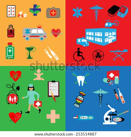 healthcare and medicine illustrations icons set. - stock vector