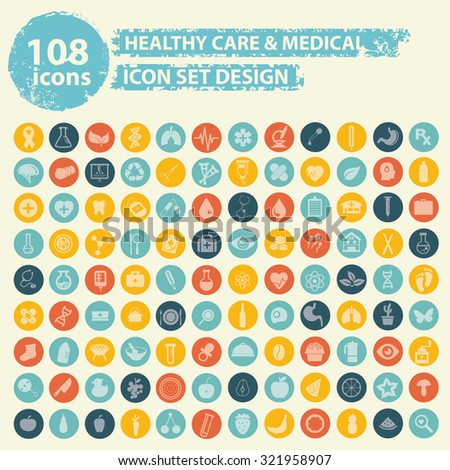 108 Healthy care and medical icons on buttons,clean vector - stock vector