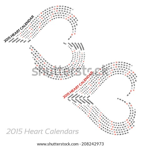 2015 heart calendars - on isolated background - stock vector