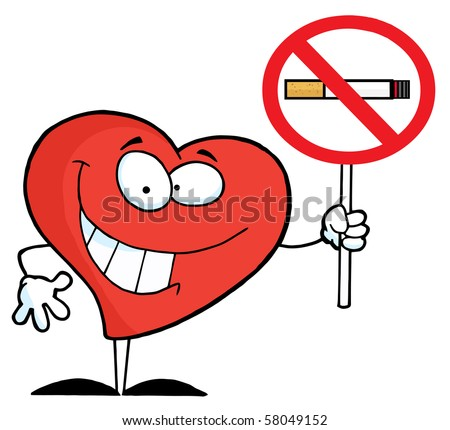 Heart Holding Up A No Smoking Sign - stock vector