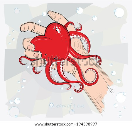 Heart in the hand. Vector illustration. The ocean of love. - stock vector