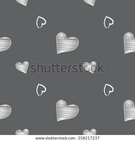 Heart seamless pattern on the black background - stock vector