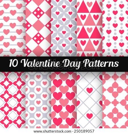 10 Heart shape vector seamless patterns (tiling). Pink color. Endless texture can be used for printing onto fabric and paper or scrap booking. Valentines day background for invitation. - stock vector