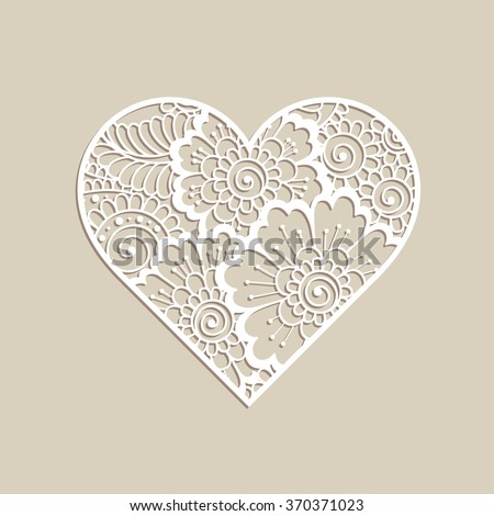 Heart shape with hand drawn floral ornament. Love concept for Valentines Day or Wedding design. - stock vector