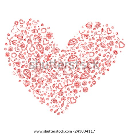 Heart Valentine's Day Floral Paisley Design Vector Illustration  - stock vector