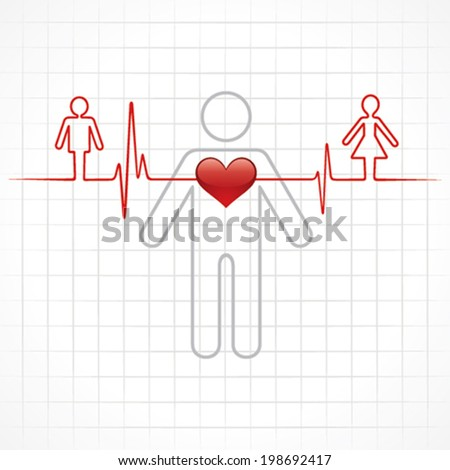 Heartbeat make a male and female symbol stock vector - stock vector
