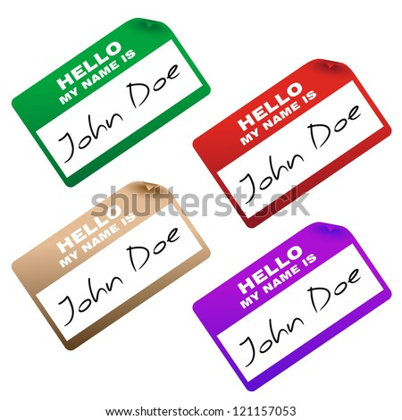 """hello my name is"" card/sticker - stock vector"
