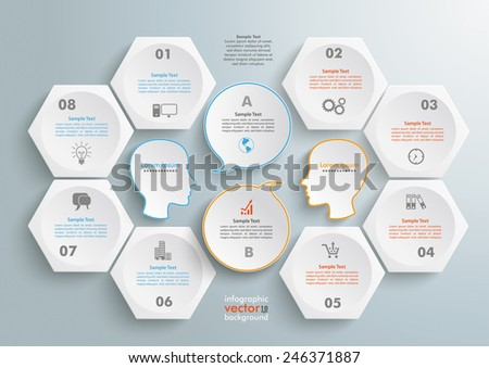 6 hexagons with 2 heads and speech bubbles wheels on the gray background. Eps 10 vector file. - stock vector