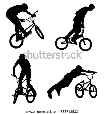 4 high quality bmx cyclist silhouettes - vector - stock vector
