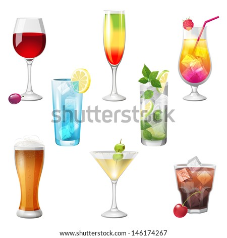 8 highly detailed cocktails icons - stock vector
