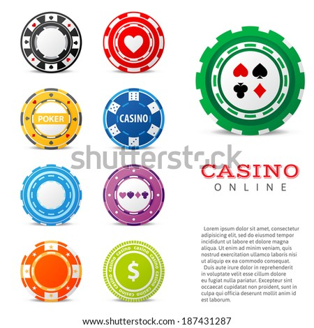 9 highly detailed gambling chips over white background - stock vector
