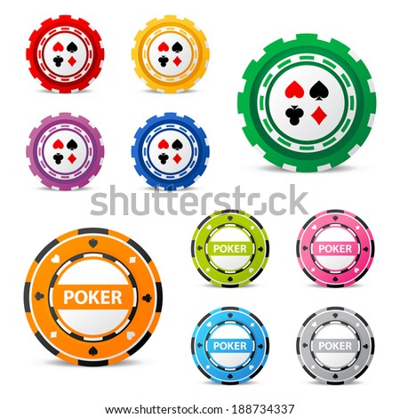 10 highly detailed gambling chips over white background - stock vector