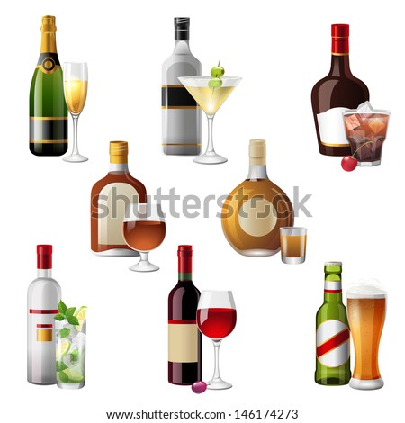 8 highly detailed icons of alcohol drinks and cocktails - stock vector