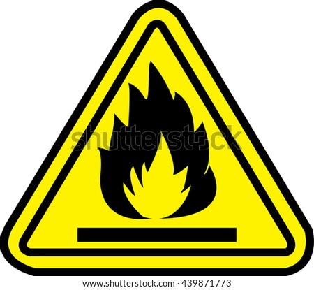 highly flammable yellow warning sign - stock vector