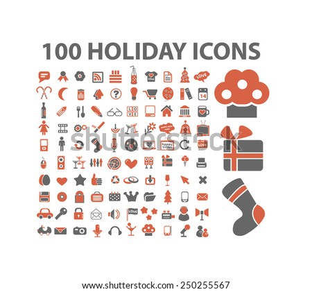 100 holidays, celebration, party, birthday icons, illustrations, signs set, vector - stock vector