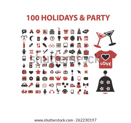 100 holidays, celebration, party icons, signs, illustrations concept design set on background, vector - stock vector