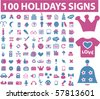 100 holidays signs. vector - stock vector