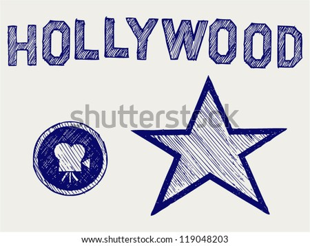 Hollywood. Doodle style - stock vector
