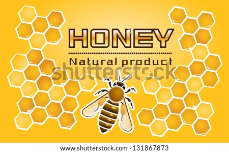 """""""Honey"""" Label. Composition of the honey bee and honeycomb with the title. I've used my own designed font - stock vector"""