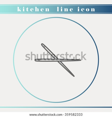 ?hop stick soutline thin line icon. Household appliance, kitchen and restaurant accessories, equipment, cooking utensil, cutlery tools, kitchenware and cookware for food preparation. Flat design. - stock vector