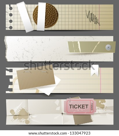 4 horizontal highly detailed paper banners. EPS 10 - stock vector
