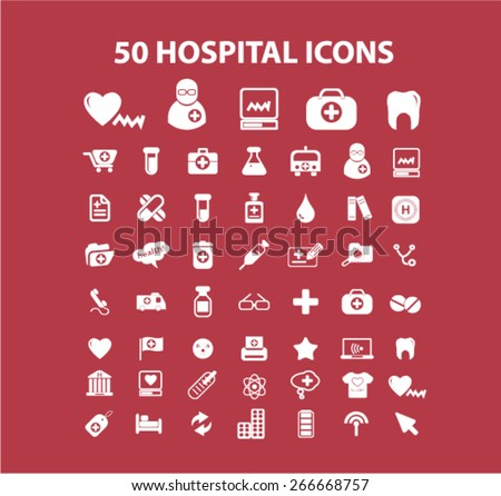 50 hospital, medicine, health isolated icons, signs, illustrations concept website internet design set, vector - stock vector