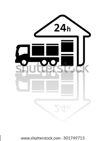 24 hour delivery symbol with load package on truck and store silhouette - stock vector