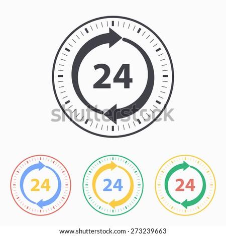 24 hour service icon. Vector illustration, flat design.  - stock vector