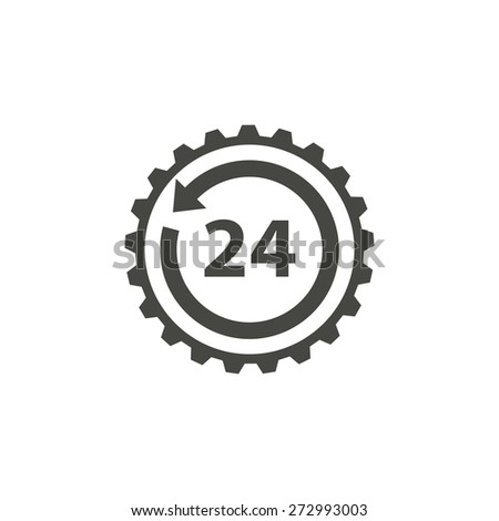 24 hour service - vector icon in black on a white background. - stock vector