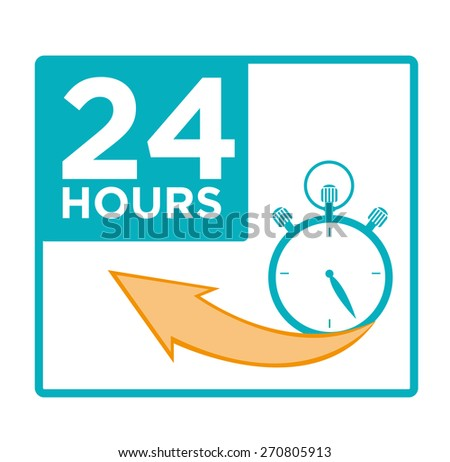 24 hours concept for Arrival, Delivery, Time Limit in Business Practices and Service or Products practices like a 24 hour opening of Convenience stores or Fast Food Restaurants - stock vector