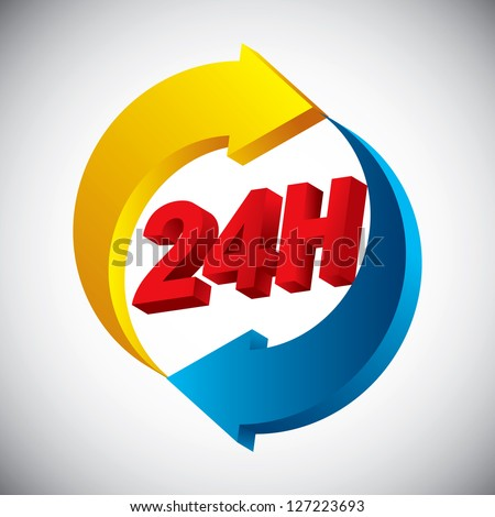 24 hours non stop icon - stock vector