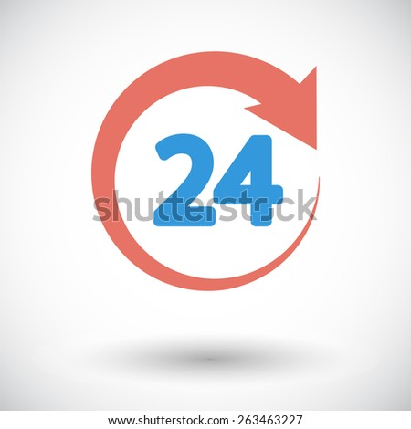 24 hours. Single flat icon on white background. Vector illustration. - stock vector