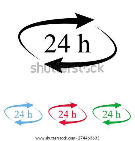 24 hours - vector icon, flat design - stock vector