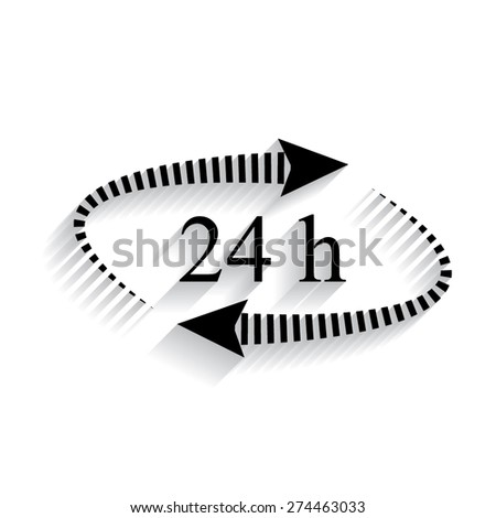 24 hours - vector icon, flat design with shadow - stock vector