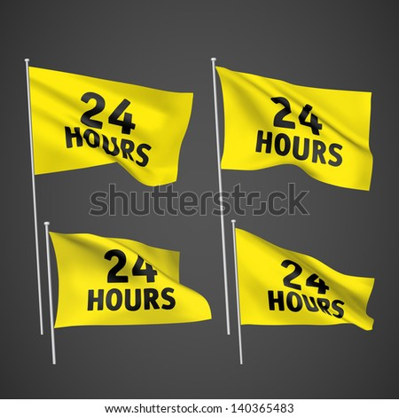 24 hours - yellow vector flags. A set of wavy 3D flags created using gradient meshes. EPS 8 vector - stock vector