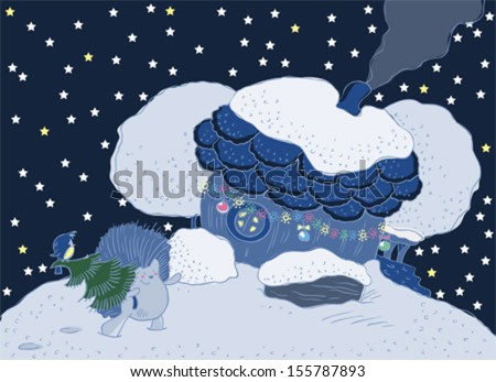 House with a chimney and a porch. Hedgehog with christmas tree. - stock vector