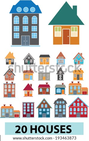 20 houses, buildings icons in cartoon style, vector - stock vector