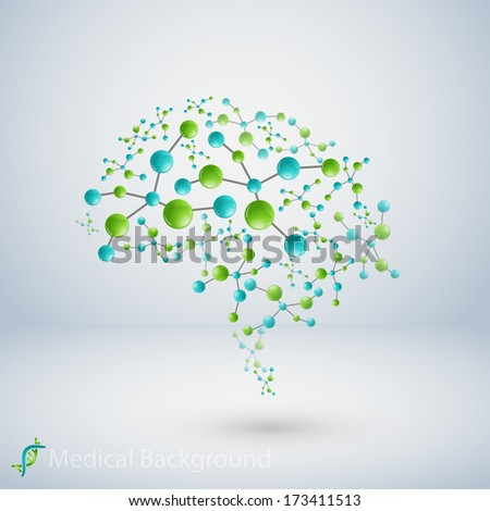 human brain, vector illustration - stock vector