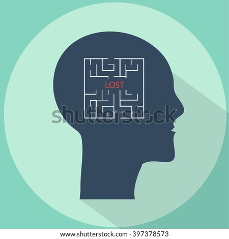 Human head with maze inside brains vector flat illustration with long shadow.  Lost in mind labyrinth concept illustration, icon - stock vector