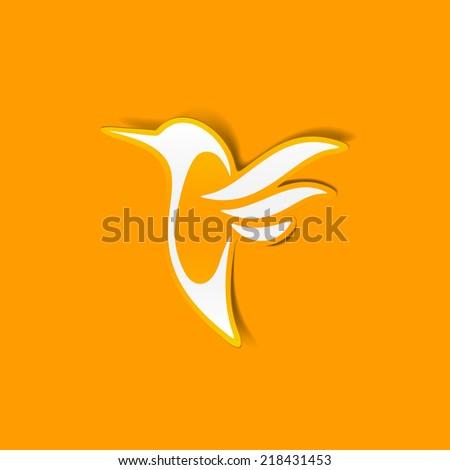 hummingbird sticker - stock vector