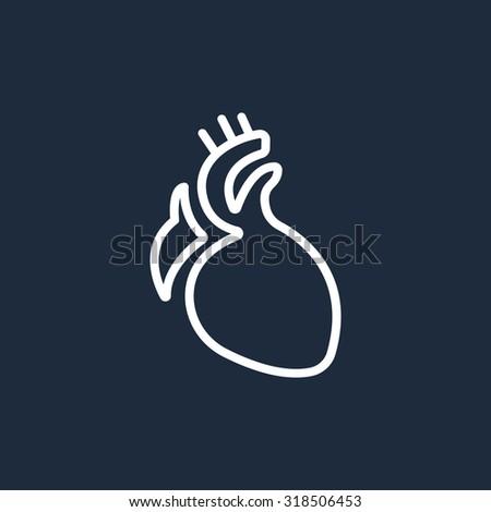 icon heart organ - stock vector