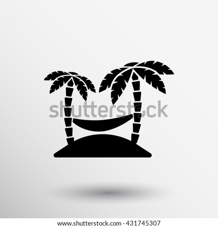 icon illustration relaxing hammock between two palm trees. - stock vector