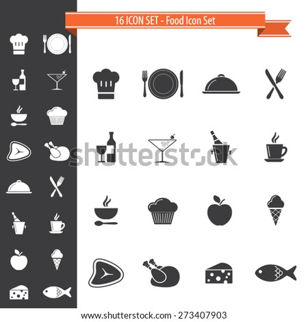 16 Icon Set. Cooking, Food and Kitchen Icons Set. EPS10 vector. - stock vector