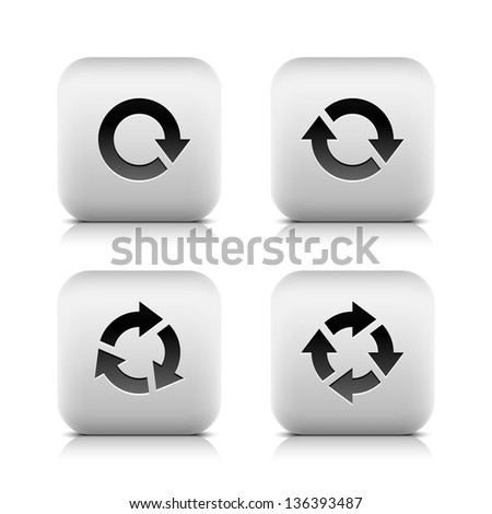 4 icon with arrow sign (set 03). Series in a stone style. Rounded square button with gray reflection and black shadow on white background. Vector illustration web design element in 8 eps - stock vector