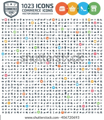 1023 Icons,Commerce,shopping,marketing,sale,buy,business icon set,clean vector - stock vector