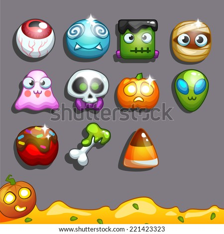 Icons for games on the theme Halloween (candy) - stock vector