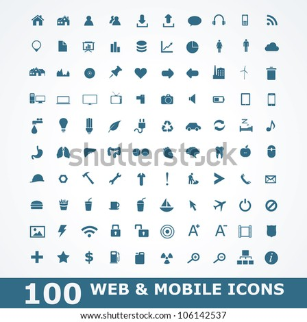 100 Icons For Web and Mobile - stock vector