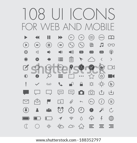 108 icons for web and mobile - stock vector