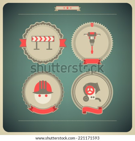 4 icons from Construction Industry theme, from left to right, top to bottom -  Construction barrier, Jackhammer, Builder (Worker), Concrete mixer.  - stock vector