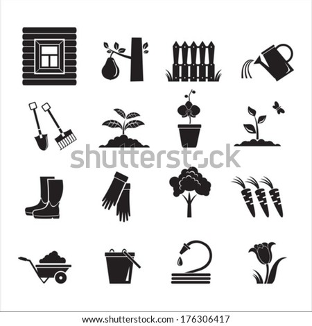 16 icons garden. Vector of black color.  EPS-10 (non transparent elements, non gradient).  - stock vector